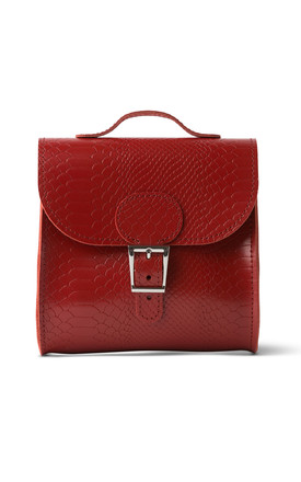 Croc Print Satchel Shoulder Bag In Deep Red by Brit-Stitch Product photo