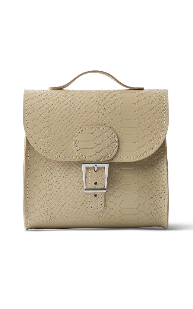 Croc Print Satchel Shoulder Bag in Cream by Brit-Stitch