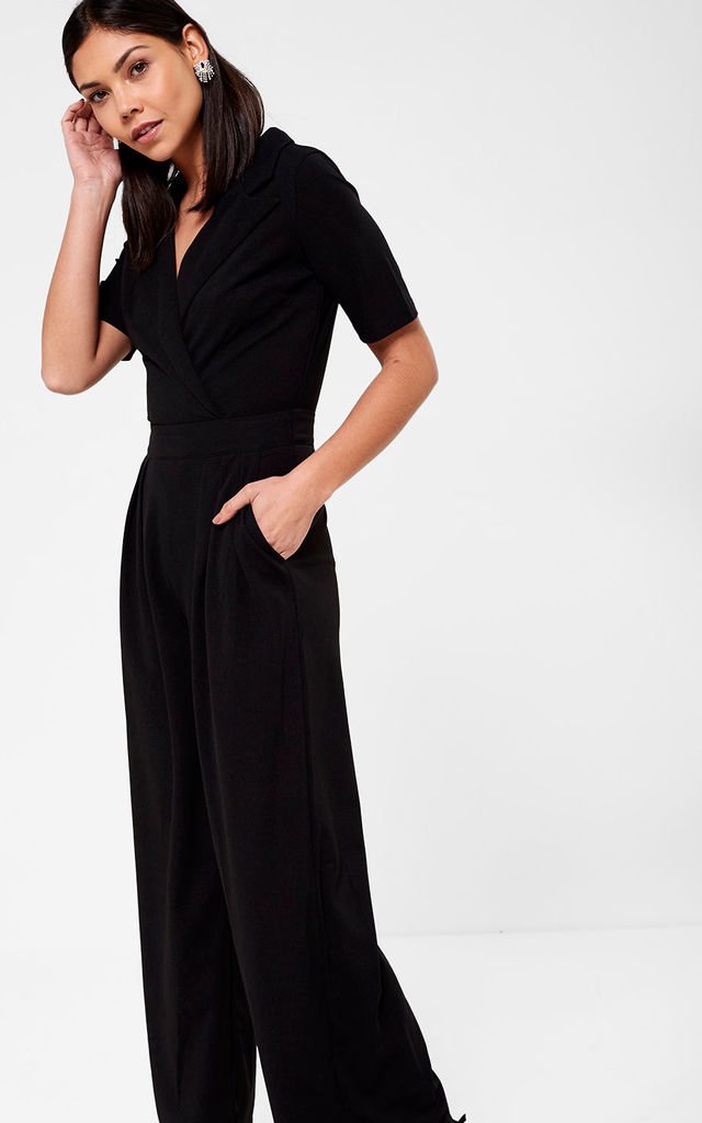 Maura Crossover Jumpsuit in Black by Marc Angelo