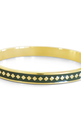 Diamond Enamel Bangle For Her (GREEN) by Florence London