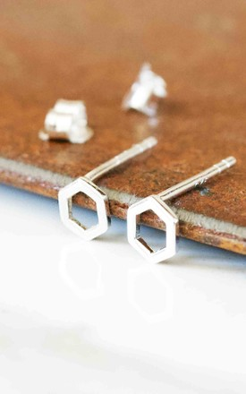 Hexagon Earring Studs Sterling Silver by Florence London