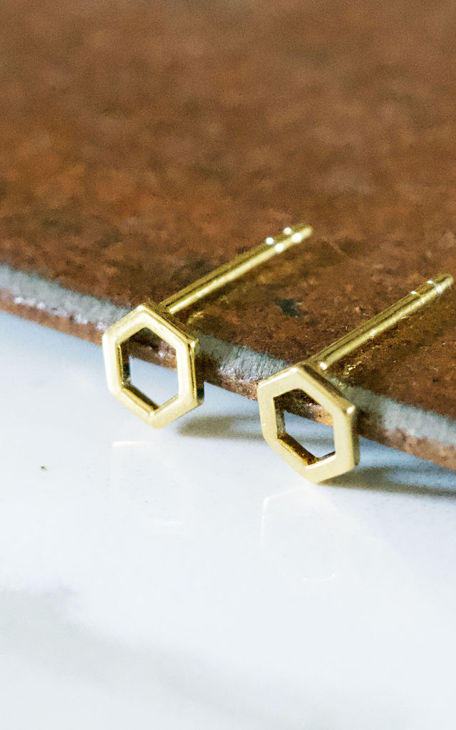 Hexagon Earring Studs 18ct Gold by Florence London