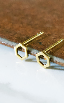 Hexagon Earring Studs 18ct Gold by Florence London Product photo