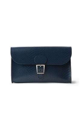 Croc Print Clutch Bag In Navy Blue by Brit-Stitch Product photo