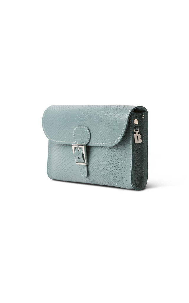 Croc Print Clutch Bag in Sea Grey by Brit-Stitch