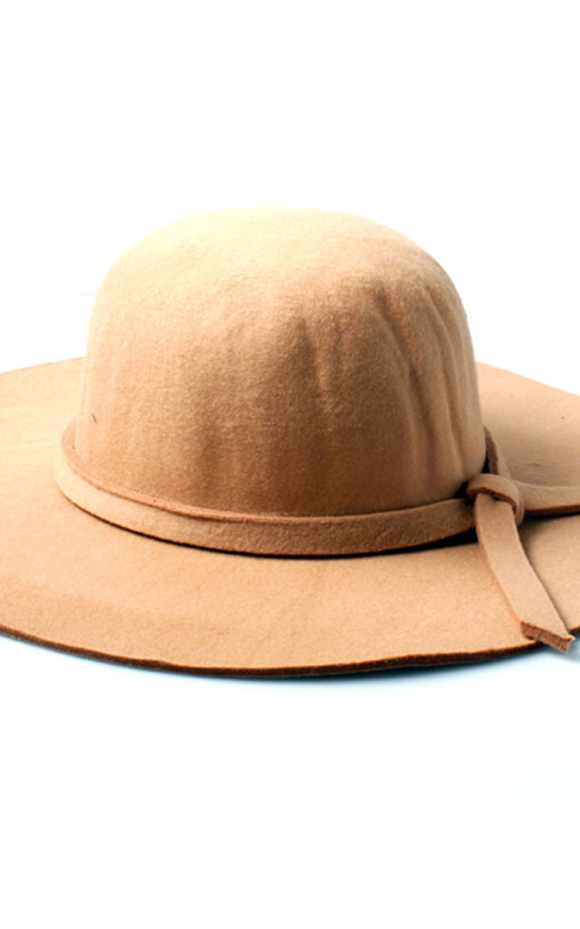 Sand Floppy Fedora Hat with Knotted Band by Accessory O