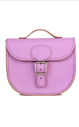 Small Leather Cross Body Satchel Bag In Lilac by Brit-Stitch Product photo