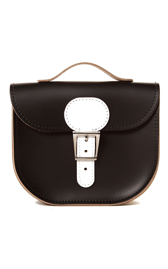 Small Leather Cross Body Satchel Bag in Black and White by Brit-Stitch