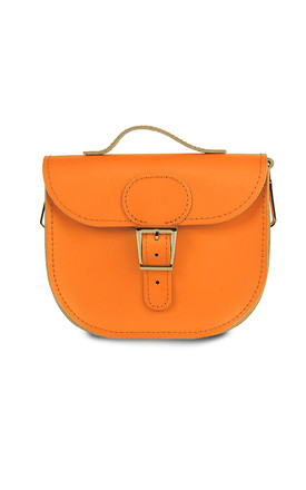 Small Leather Cross Body Satchel Bag In Burnt Orange by Brit-Stitch Product photo