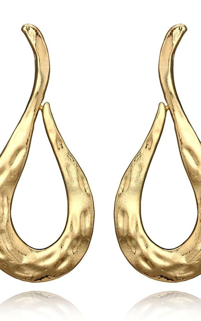 Gold Beaten Style Earrings by Olivia Divine Jewellery