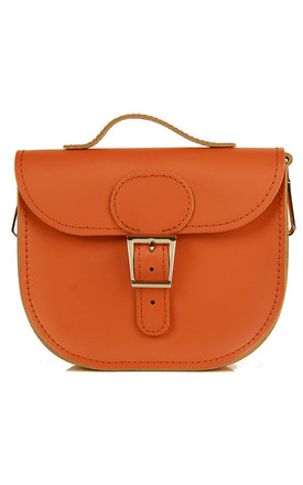 Small Leather Cross Body Satchel Bag in Rust Brown by Brit-Stitch