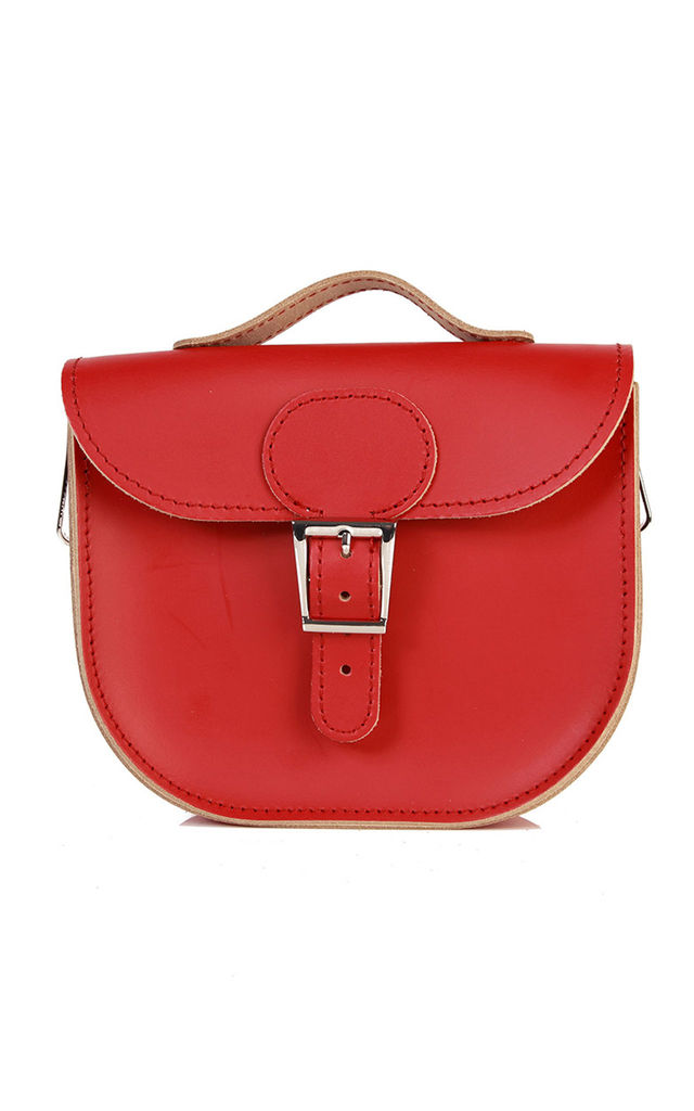 Small Leather Cross Body Satchel Bag in Deep Red by Brit-Stitch