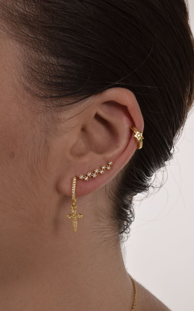 Cubic zirconia burst real gold dipped ear climbers by EPITOME JEWELLERY