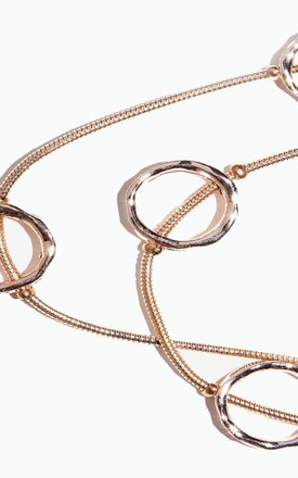 Bronze Ring Detail Double Chained Necklace by Accessory O