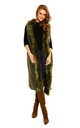 Faux Fur Long Cape Coat in Olive by Looking Glam