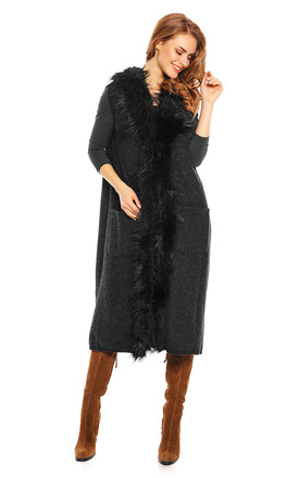 Faux Fur Long Cape Coat in Black by Looking Glam