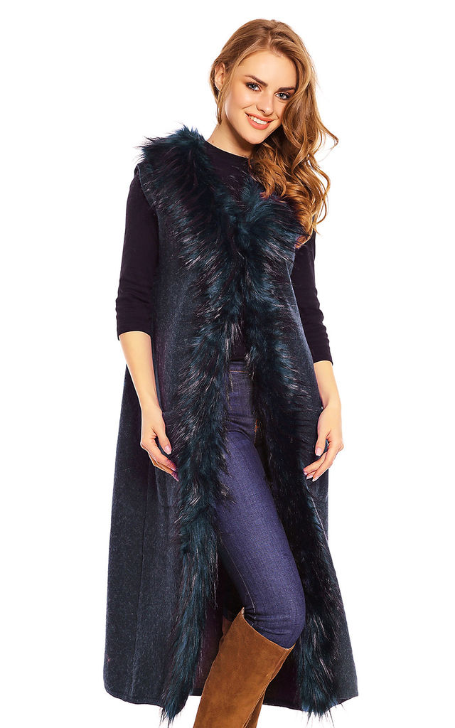 Faux Fur Long Cape Coat in Navy by Looking Glam