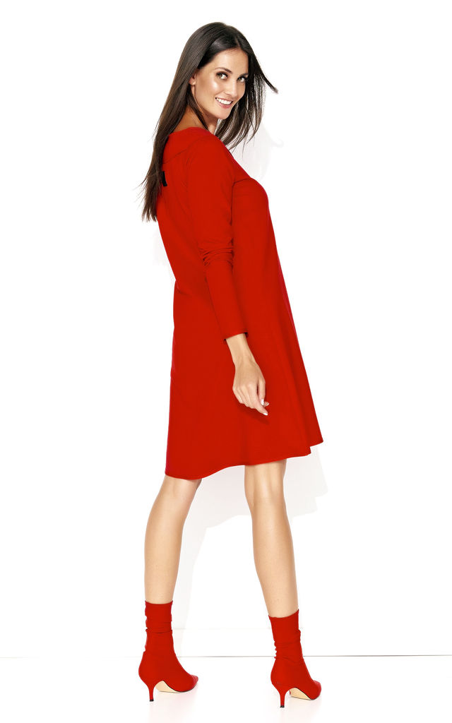 Red A Line Long Sleeve Dress by Makadamia