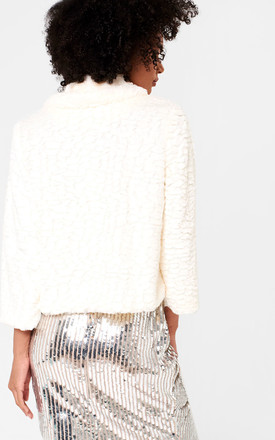Karen Cropped Fur Jacket in White by Marc Angelo