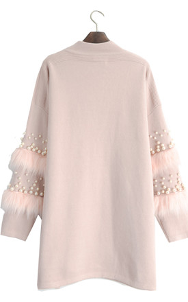 Jumper with Faux Fur and Pearl Embellished Sleeves in Pink by CY Boutique