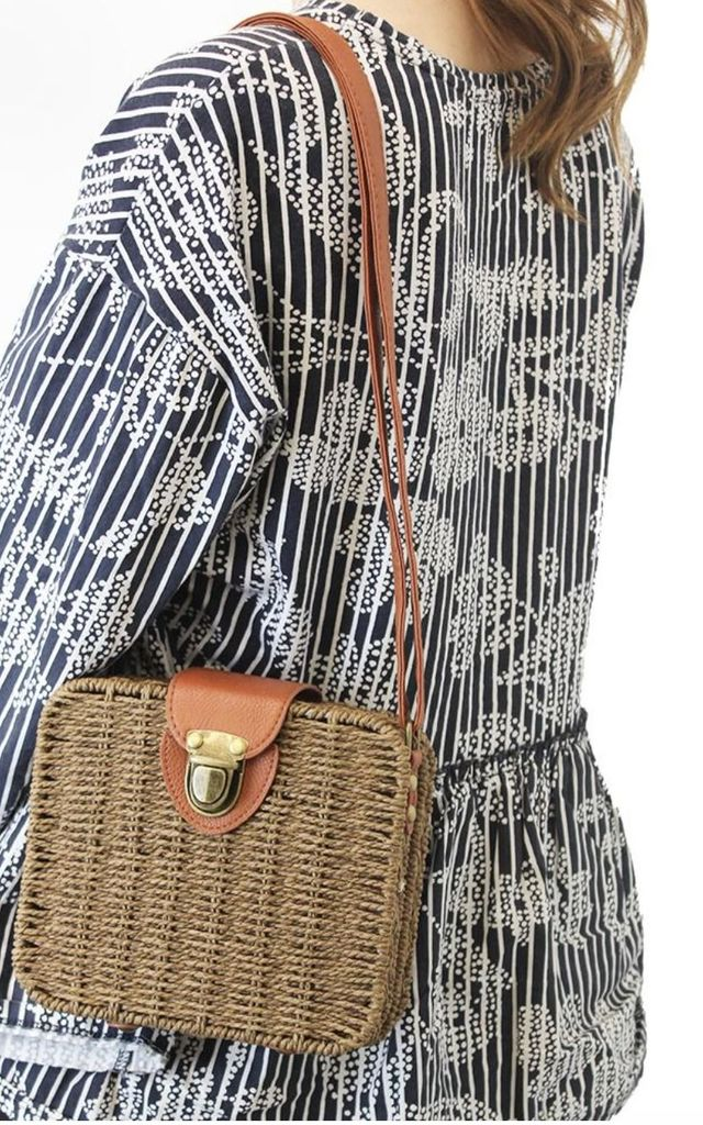 Square Straw Satchel Bag by Accessory O