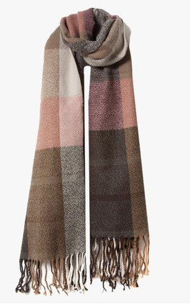 Pink and Brown Thick Check Design Woven Scarf by Accessory O