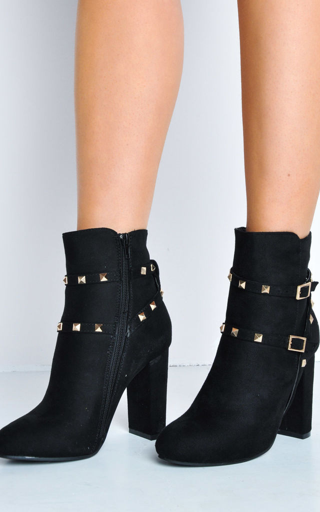 Faux Suede Block Heel Ankle Boots Black by LILY LULU FASHION