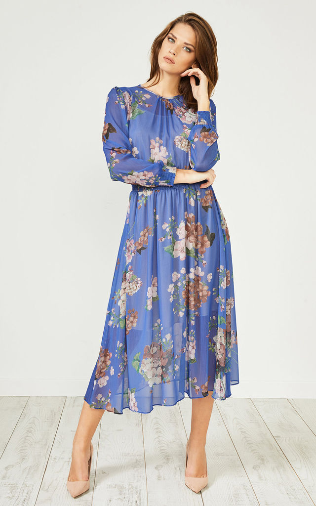 Blue Floral Print Long Sleeve Dress by URBAN TOUCH