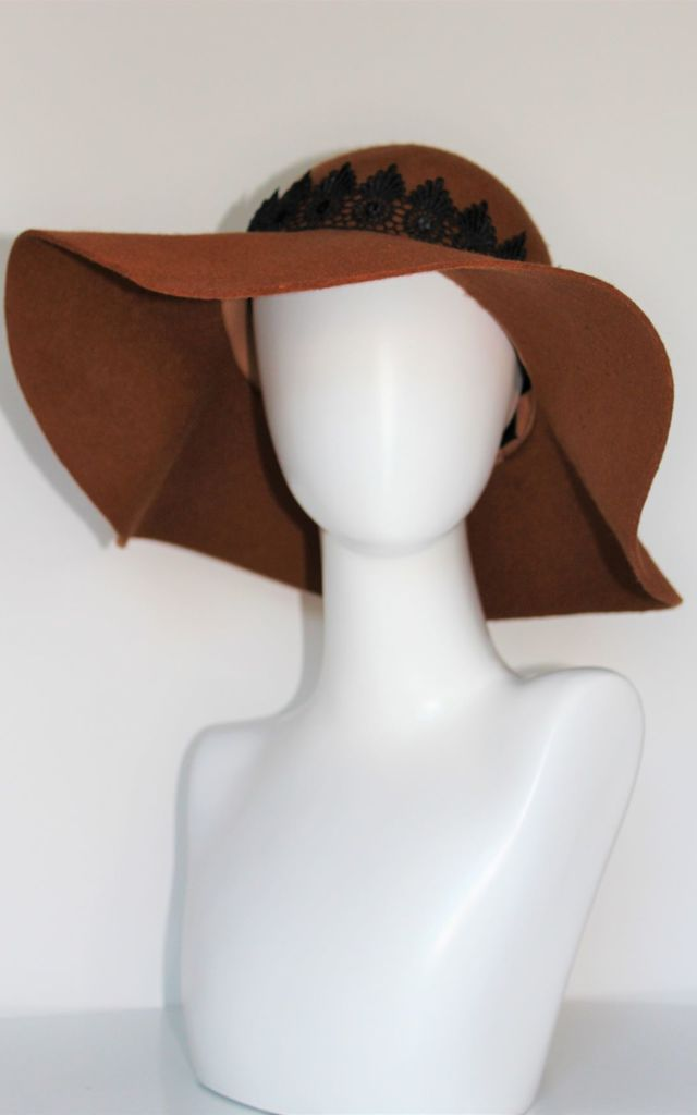 Ceri cammel black lace floppy hat by Kate Coleman