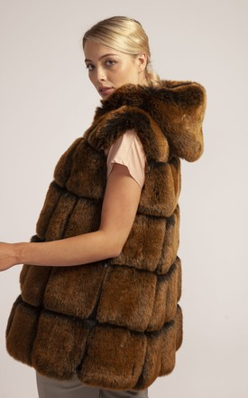 Luxurious Faux Fur Gilet Mocha Tan One Size by Spiritual Hippie
