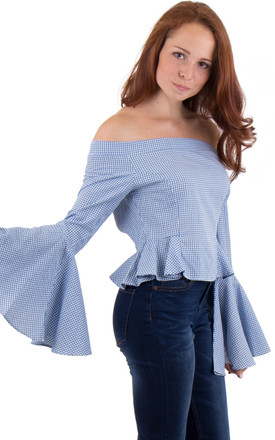 Frill Off The Shoulder Checked Top by MISSTRUTH