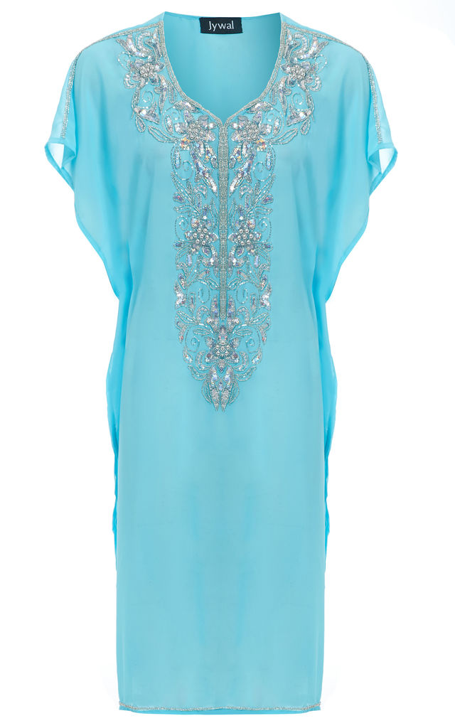 Maliya Turquoise Floral Embellished Short Beach Kaftan Dress by Jywal