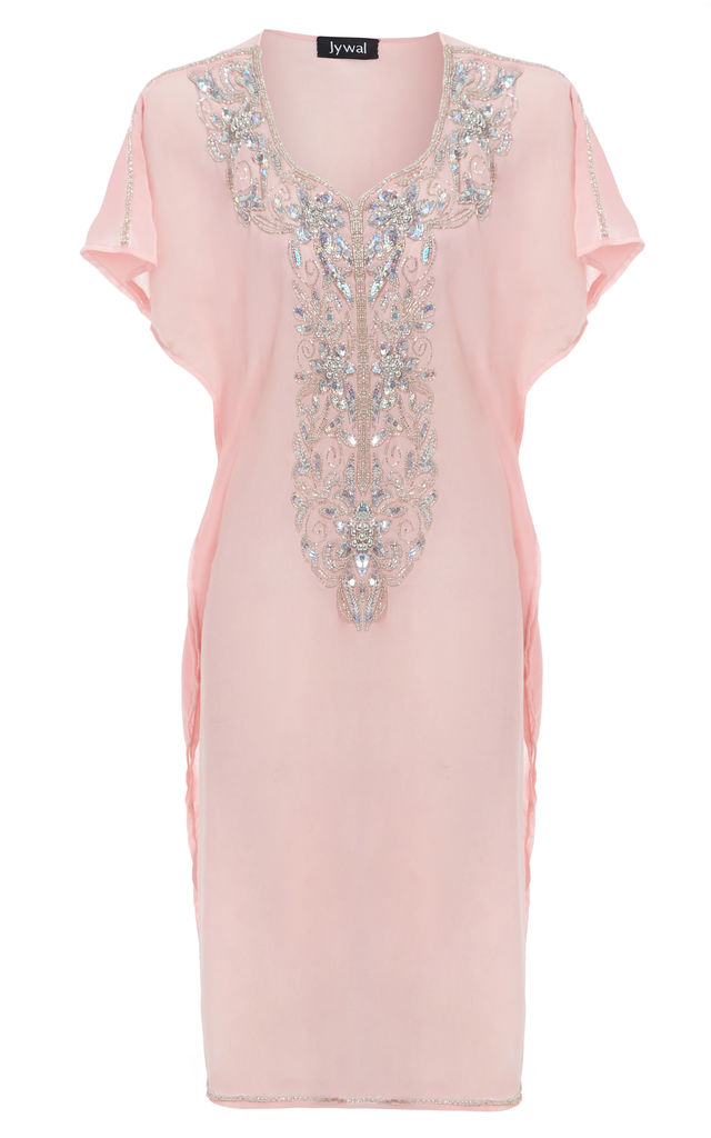 Maliya Baby Pink Floral Embellished Short Beach Kaftan Dress by Jywal