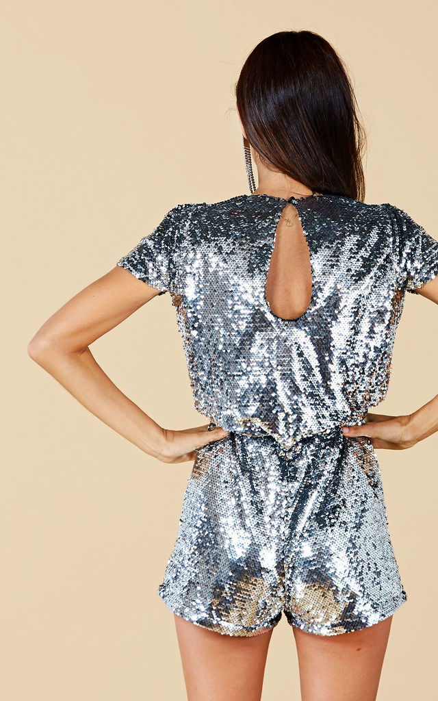 SUPERNOVA SEQUIN PLAYSUIT IN SILVER by Dancing Leopard
