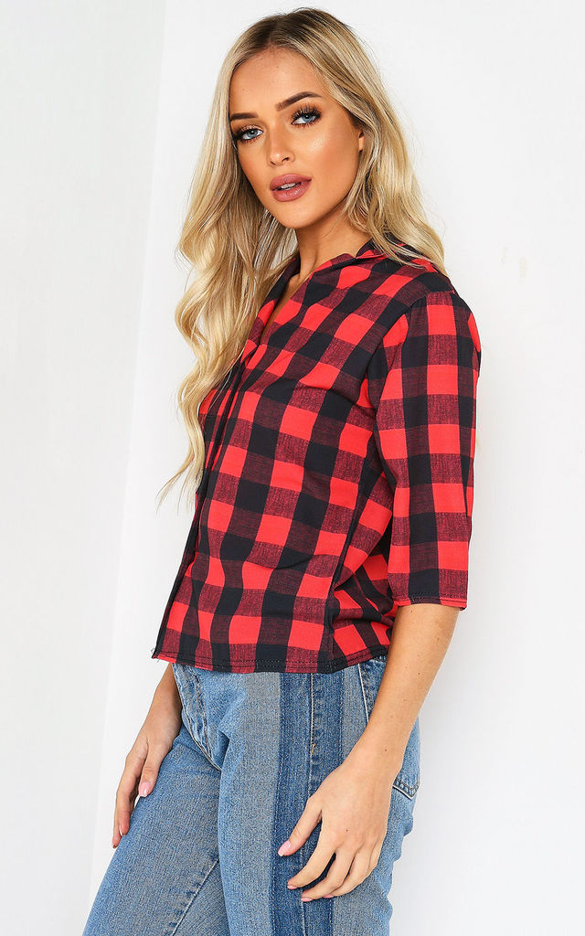 Red Check Print Button Up Shirt by Lasula