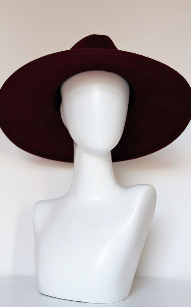 Red wine large stiff brim fedora hat by Kate Coleman