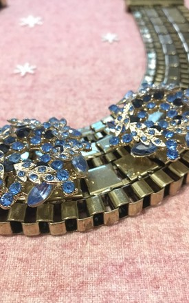 Cleopatra blue gold crystal statement collar by Kate Coleman