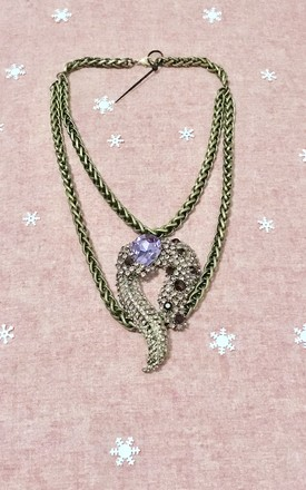 Octopus feather purple crystal gold chain necklace by Kate Coleman