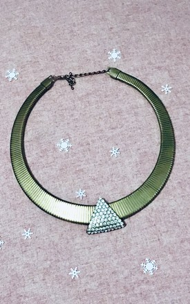 Vintage gold triangle crystal collar necklace by Kate Coleman