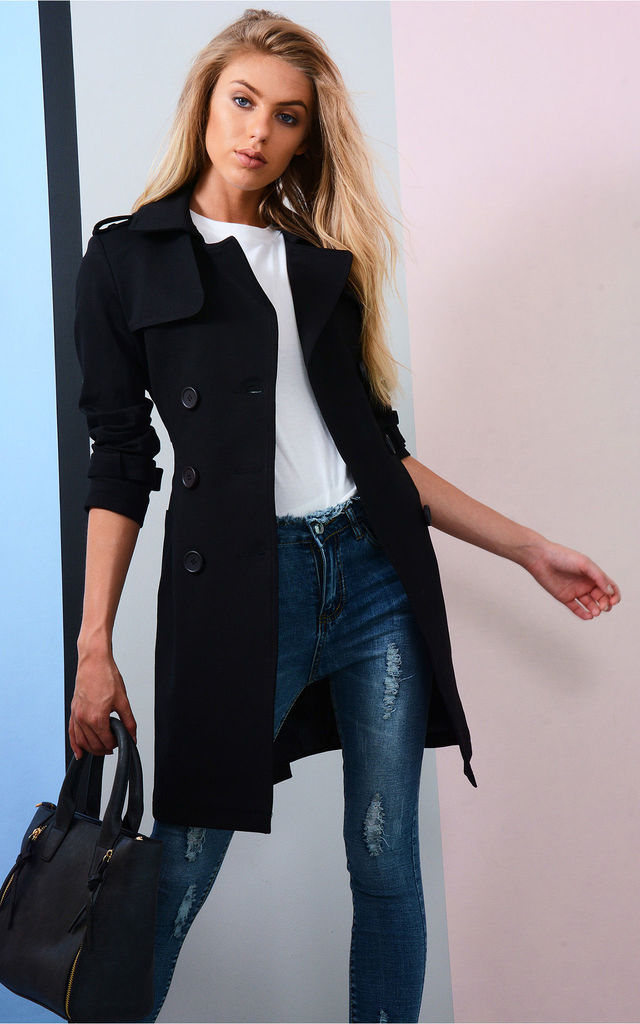 Black Trench Coat With Double Breasted Buttons by LOVEMYSTYLE