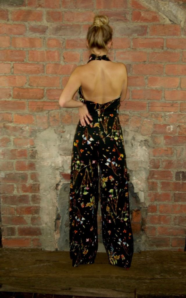 High Neck Backless Jumpsuit-Winter Gardens by House Of Lily
