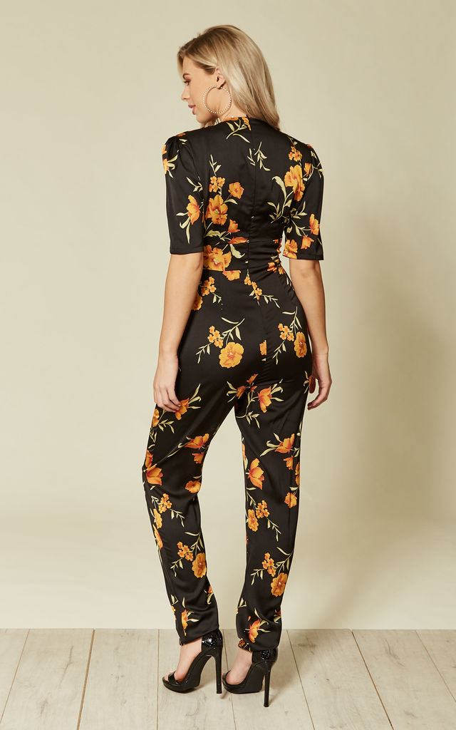 Black Floral Button Down Jumpsuit by Another Look