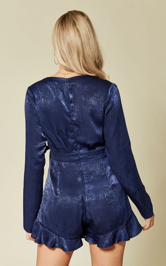 Navy Satin Wrap Over Playsuit by Another Look