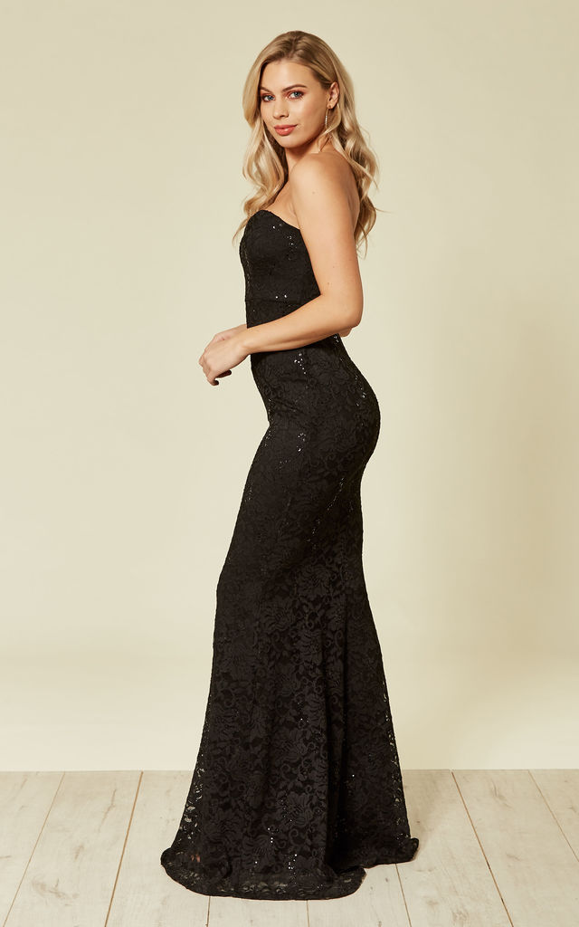 0b7b610ec77e Lace Strapless Maxi Gown Black Sequin | FLOUNCE LONDON | SilkFred
