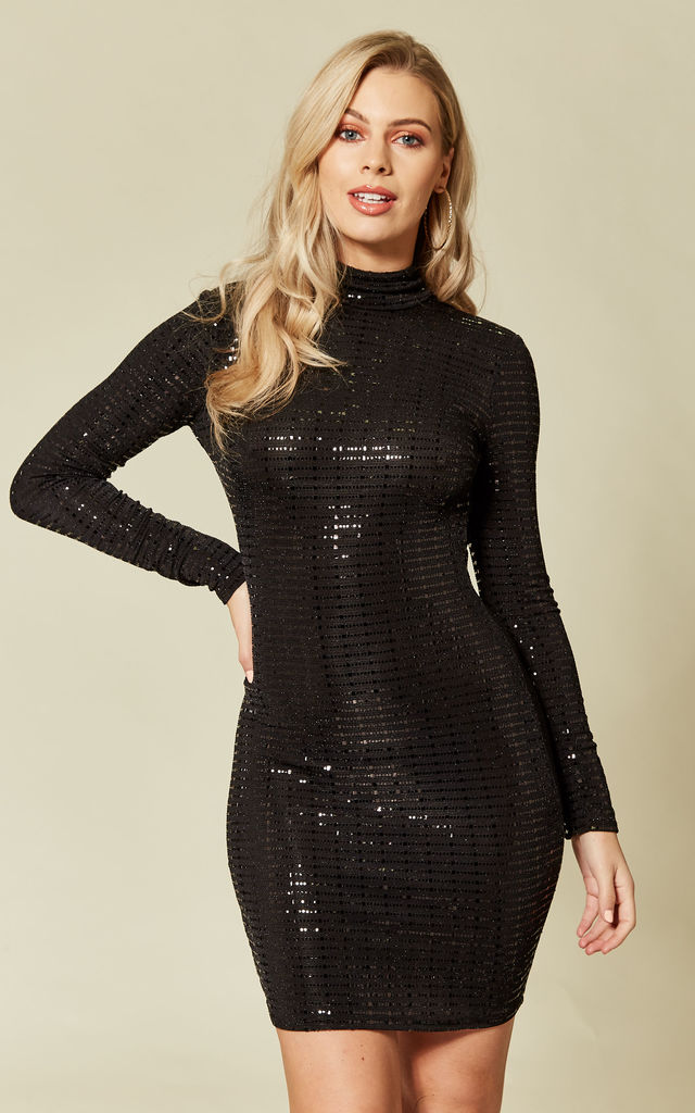 975c0e70aa5b High Neck Mini Dress Black Sequin Metallic | FLOUNCE LONDON | SilkFred