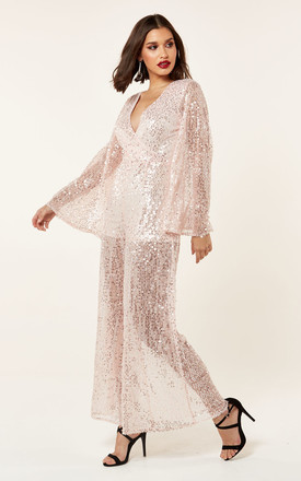 SEQUIN WRAP WIDE LEG JUMPSUIT by The Girlcode