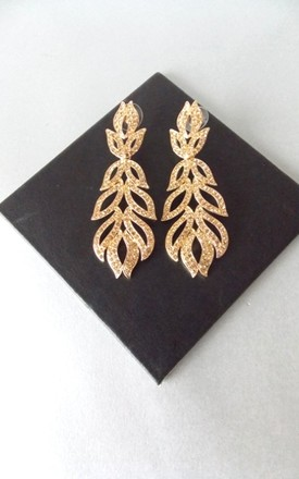 Gold Jewelled Drop Statement Earrings by Olivia Divine Jewellery