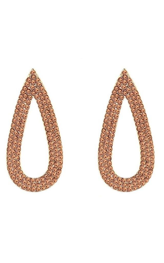 Gold Jewelled Oval Stud Drop Earrings by Olivia Divine Jewellery