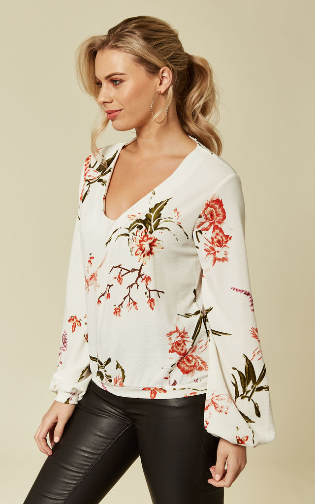 White Puff Sleeve Floral Blouse by Oeuvre