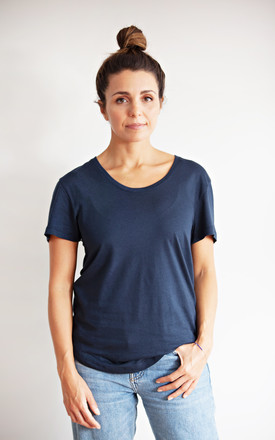Navy Short Sleeved Scoop Neck T-Shirt by IVY